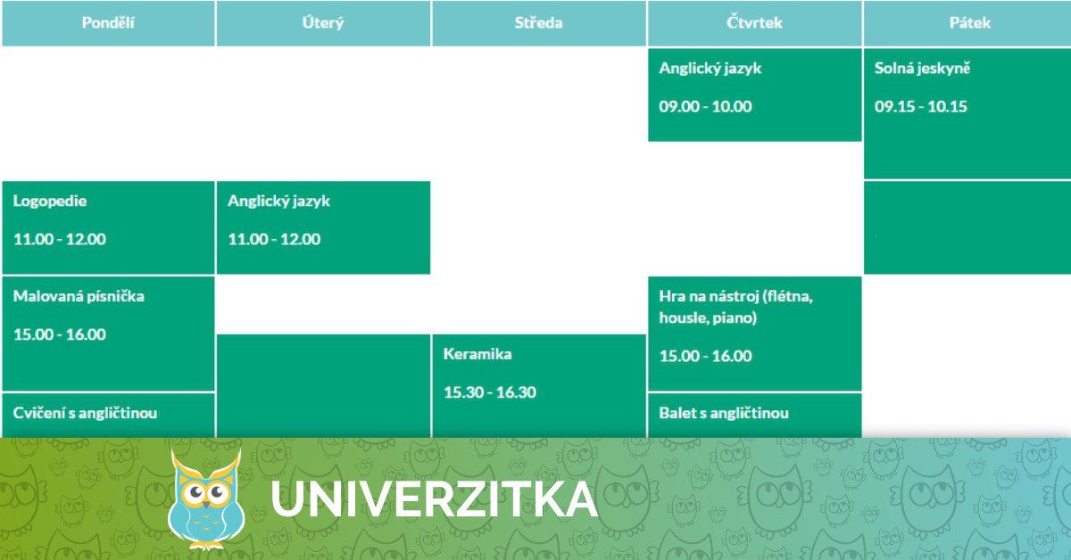 Kroužky v Univerzitce od 4. týdne v září